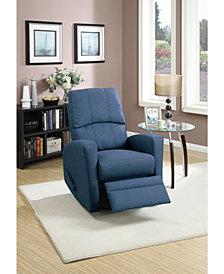 Benzara Swivel Recliner Chair in Polyfiber Fabric