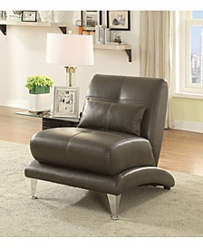 Contemporary Style Leatherette Chair with Pillow