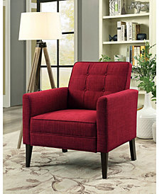 Benzara Button Tufted Accent Arm Chair with Fabric Upholstery