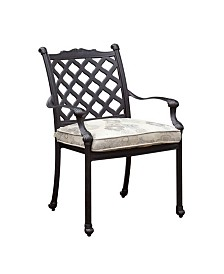 Metal Arm Chair With Fabric Cushion, Set of Four