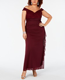Betsy & Adam Plus Size Draped Off-The-Shoulder Gown