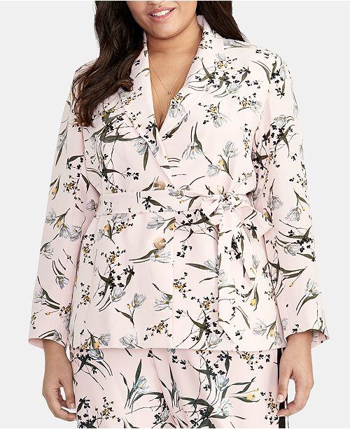 RACHEL Rachel Roy Trendy Plus Size Printed Tie-Waist Blazer