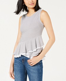Maison Jules Striped Crossover Peplum Top, Created for Macy's
