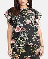 25fe00bdcf0 RACHEL Rachel Roy Trendy Plus Size Carlie Flutter-Sleeve Top