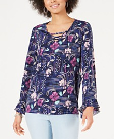 Style & Co Floral-Print Lace-Up Top, Created for Macy's
