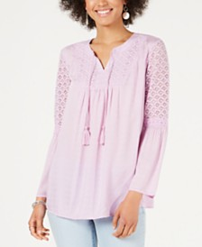 Style & Co Lace Split-Neck Tassel Top, Created for Macy's