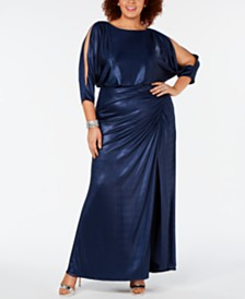 Adrianna Papell Plus Size Draped Metallic Gown