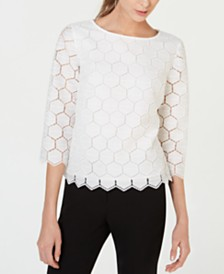 Anne Klein Geometric Lace Top