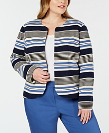 Plus Size Striped Tulip Jacket