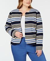 c3997f8a5a0fa Anne Klein Plus Size Striped Tulip Jacket
