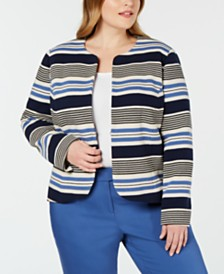 Anne Klein Plus Size Striped Tulip Jacket