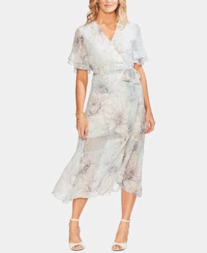 Vince Camuto Dresses PRINTED RUFFLED FAUX-WRAP DRESS