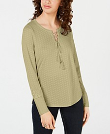 Juniors' Lace-Up Henley Top, Created for Macy's