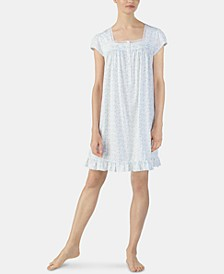 Printed Eyelet Lace-Trim Jersey Knit Cotton Nightgown