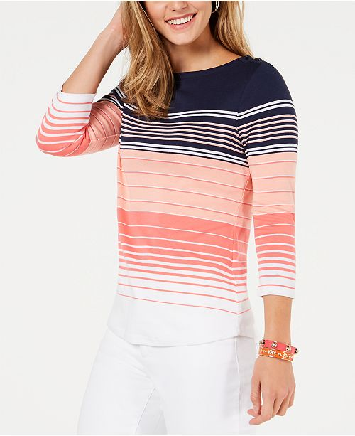 Charter Club Petite Pima Cotton Button-Shoulder Striped Top, Created for Macy's