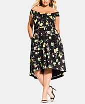 bfeee78a7b City Chic Trendy Plus Size Amalfi Floral Off-The-Shoulder Dress