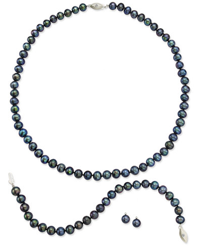 Sterling Silver Jewelry Set, Black Cultured Freshwater Pearl and Diamond Accent Earrings, Necklace and Bracelet
