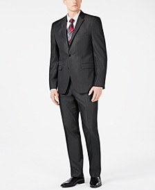 Men's Slim-Fit Stretch Charcoal Solid Twill Suit Separates