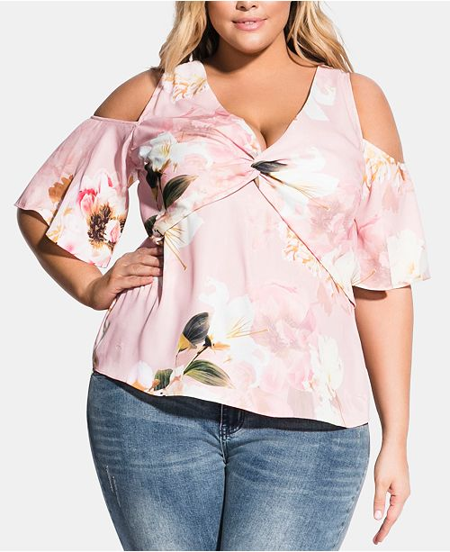 e9a317c667baad ... City Chic Trendy Plus Size English Rose Cold-Shoulder Top ...
