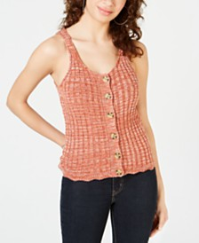 American Rag Juniors' Button Knit Tank Top, Created for Macy's