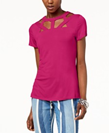 I.N.C. Petite Cutout-Neck Top, Created for Macy's