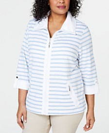Karen Scott Plus Size Striped Zip-Front Jacket, Created for Macy's