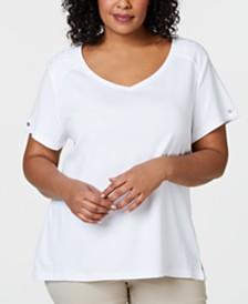 Karen Scott Plus Size Eyelet-Trim T-Shirt, Created for Macy's