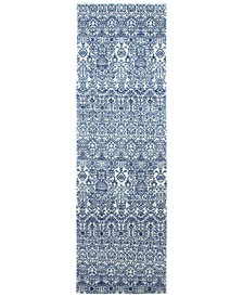 """CLOSEOUT! Medley  5465 Ivory/Blue 2'6"""" x 8' Runner Area Rug"""