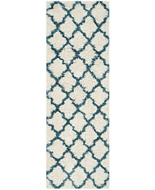 "Shag Kids Ivory and Blue 2'3"" x 7' Runner Area Rug"