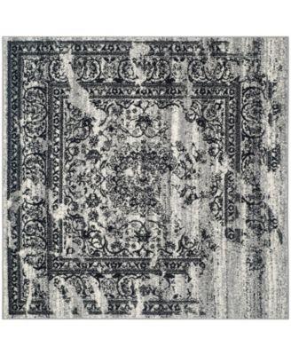 Adirondack Silver and Black 4' x 4' Square Area Rug