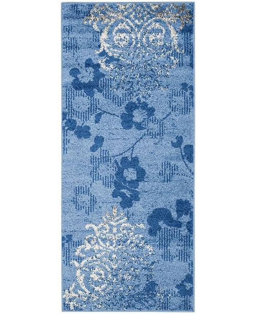 "Safavieh Adirondack Light Blue and Dark Blue 2'6"" x 10' Runner Area Rug"