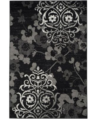 Adirondack Black and Silver 6' x 6' Square Area Rug