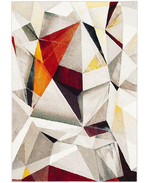 "Safavieh Porcello Light Gray and Orange 6'7"" x 9' Area Rug"