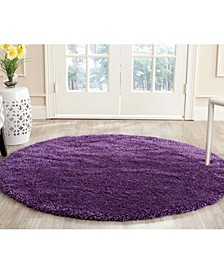 Shag Purple 3' x 3' Round Area Rug