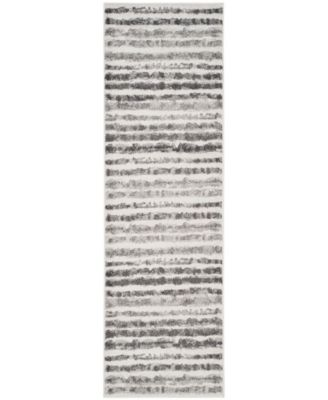 """Adirondack Ivory and Charcoal 2'6"""" x 12' Runner Area Rug"""