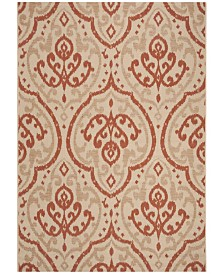 """Martha Stewart Collection Beige and Terracotta 6'7"""" x 9'6"""" Area Rug, Created for Macy's"""