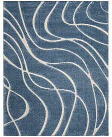 "Safavieh Shag Light Blue and Cream 8'6"" x 12' Area Rug"