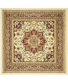 "Lyndhurst Ivory and Red 5'3"" x 5'3"" Square Area Rug"