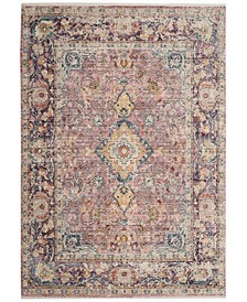 Illusion Light Purple and Purple 4' x 4' Square Area Rug