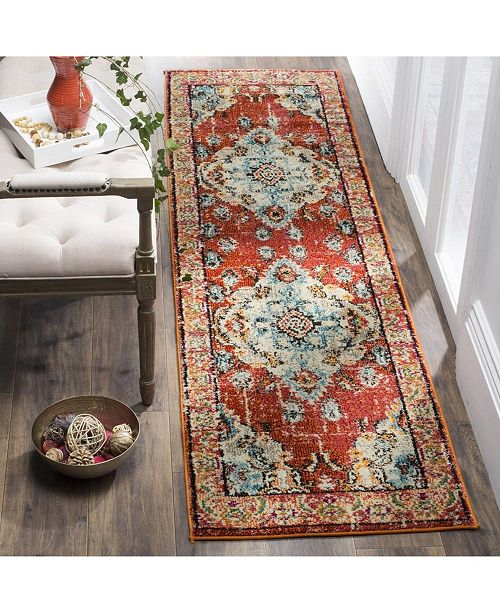 "Safavieh Monaco Orange and Light Blue 2'2"" x 12' Runner Area Rug"