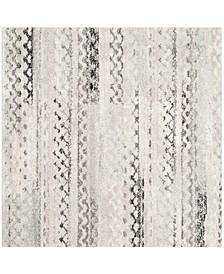 Retro Cream and Gray 4' x 4' Square Area Rug