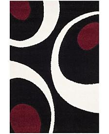 Shag Black and Ivory 6' x 9' Area Rug