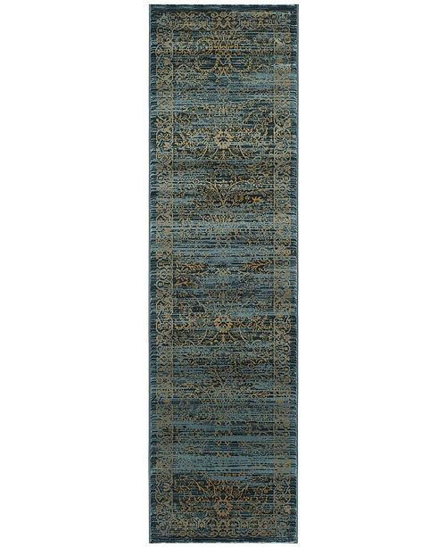 "Safavieh Serenity Turquoise and Gold 2'3"" x 6' Runner Area Rug"
