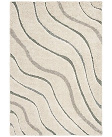 Safavieh Shag Cream and Light Blue 6' x 9' Area Rug