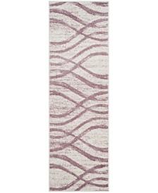 "Adirondack Cream and Purple 2'6"" x 12' Runner Area Rug"