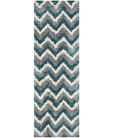 "Shag Kids Ivory and Blue 2'3"" x 9' Runner Area Rug"