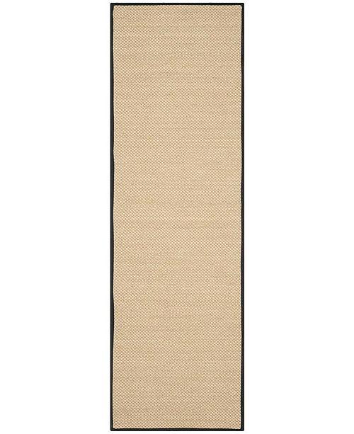 "Safavieh Natural Fiber Maize and Black 2'6"" x 6' Sisal Weave Runner Area Rug"