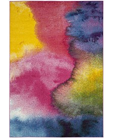 "Watercolor Green and Fuchsia 2'2"" x 8' Runner Area Rug"