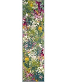 "Watercolor Green and Fuchsia 2'2"" x 12' Runner Area Rug"