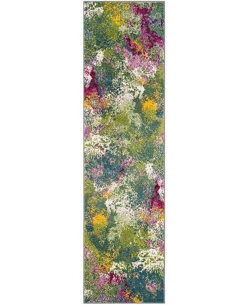"Safavieh Watercolor Green and Fuchsia 2'2"" x 12' Runner Area Rug"